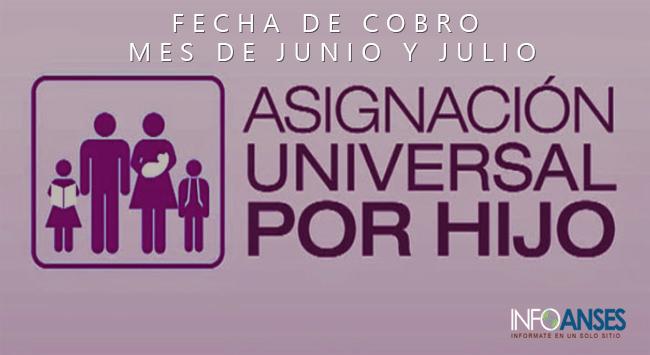 Fechas de Cobro Asignacion Universal por Hijo mes de JUNIO y JULIO