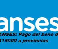 ANSES: Pago del bono de $15000 a provincias