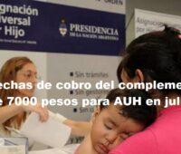 Fechas de cobro del complemento de 7000 pesos para AUH en julio